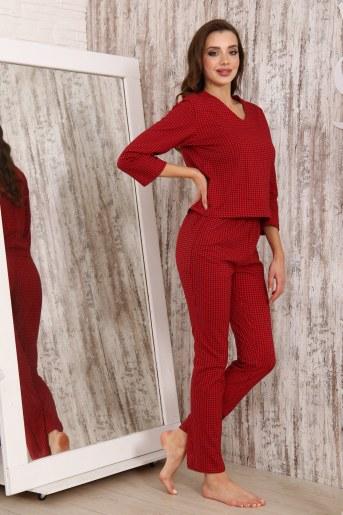 Пижама 33501 (Клетка_красный) - Фаина