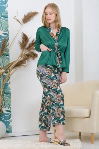 Халат 25527 шелковый (Зеленый) - Фаина