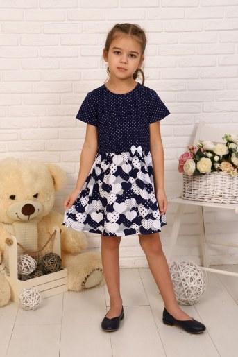 Платье Эвелина детское кор. рукав (Темно-синий) - Фаина