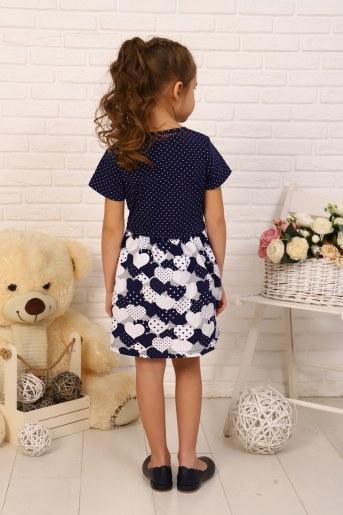 Платье Эвелина детское кор. рукав (Темно-синий) (Фото 2)