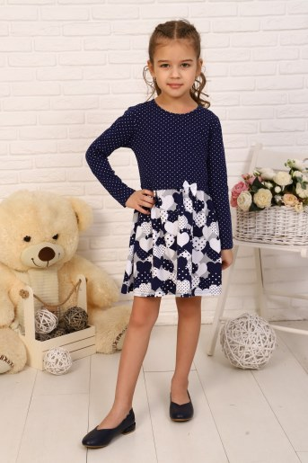 Платье Эвелина детское дл. рукав (Темно-синий) - Фаина