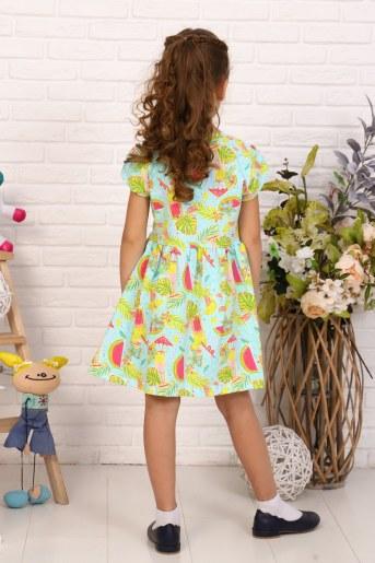 Платье Коктейль кор. рукав детское (Бирюзовый) (Фото 2)