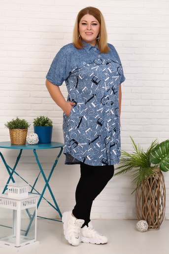 Халат-рубашка 37513 (Синий) (Фото 2)