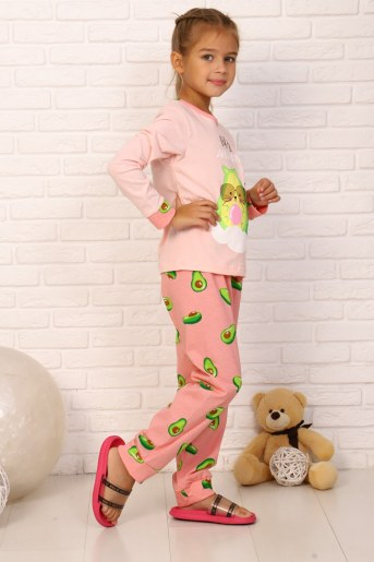 Пижама Кошка авокадо дл. рукав (Розовый) (Фото 2)