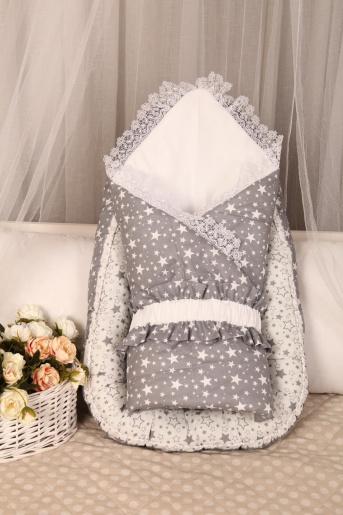 Одеяло детское Звездочка (серое), поплин - Фаина