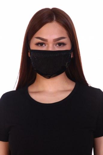 Трикотажная повязка на лицо с пайетками (набор из 2х штук) - Фаина