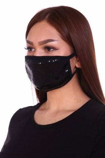 Трикотажная повязка на лицо с пайетками (набор из 2х штук) (Фото 2)